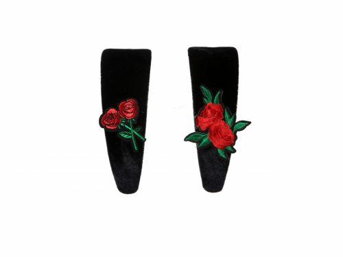 Στέκα Μαύρη Βελουτέ με διακοσμητικό Κόκκινο Τριαντάφυλλο