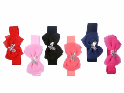 Children Headband with Bow and Strassed Butterfly