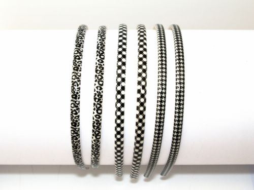 Aliceband Plastic Black/White Patterns
