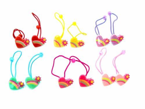 Παιδικό Λάστιχο Χρωματιστές Καρδούλες σετ 2 τμχ