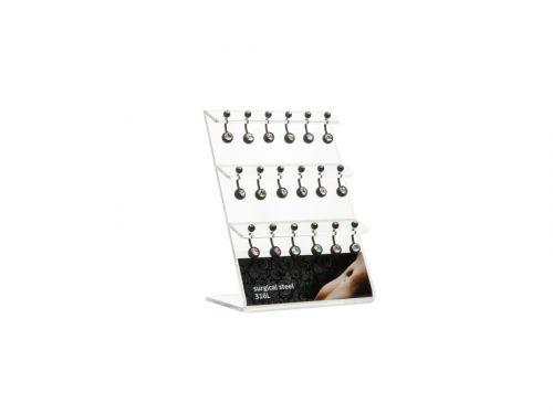 Σκουλαρίκι αφαλού Stainless Steel μαύρο ματ