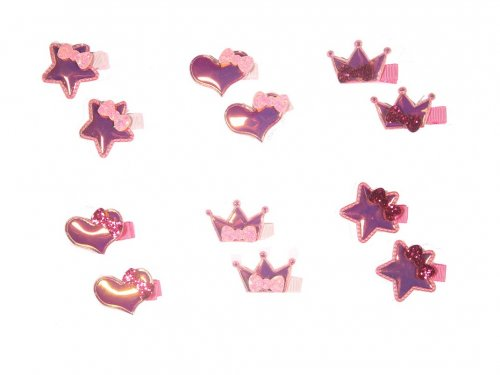 Clip for girls, Iridescent, Star,Heart, Crown set 2 pcs