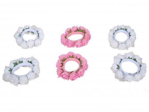 Λάστιχο  για παρανυφάκια με Άνθη, Λευκό & Ροζ