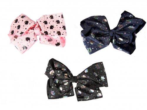 Bow clip unicorn print for girls 16 cm