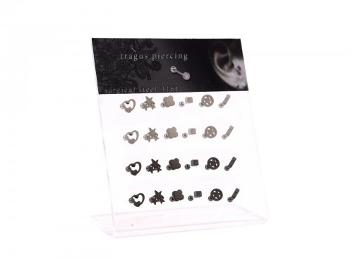 Σκουλαρίκι τράγου & πτερυγίου αυτιού Stainless Steel ασημί/μαύρο deisgn