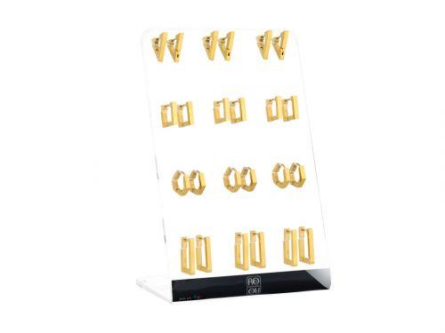 Σκουλαρίκι Κρίκος αυτιού Stainless Steel χρυσός γεωμετρικά  3 mm